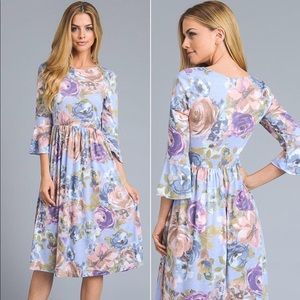 Purple/Pink Floral Bell Sleeve Modest Midi Dress
